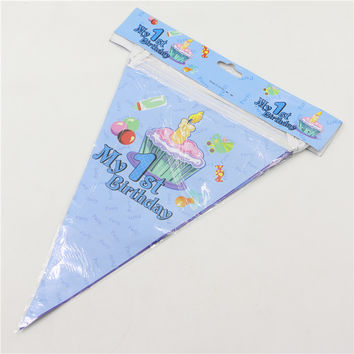 1 set banners including 10 small flags my 1st birthday theme paper flags 2.5m baby birthday party decoration hanging DIY 0325