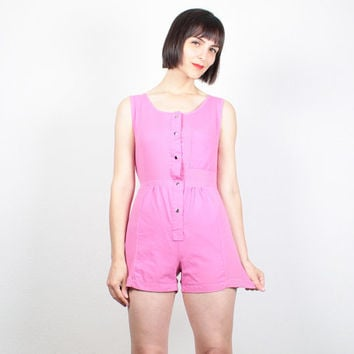Vintage Pink Romper 1980s Playsuit Ribbed Overall Shorts Jumper New Wave 80s Romper Coveralls Shortalls Overalls Outfit One Piece S Small