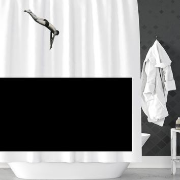 Dive In Water Funny Shower Curtain