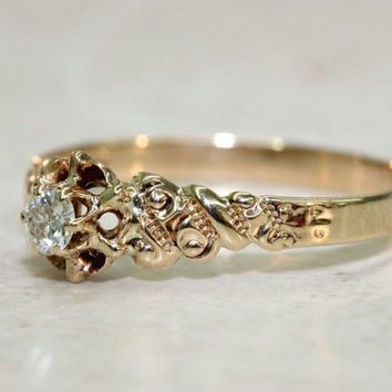 Vintage Engagement Ring Victorian Ring Antique Ring 14k Gold Ring Rose Gold Ring Promise Ring Diamond Ring Estate Ring Size 7.5