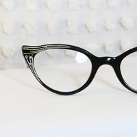 Black Teardrop Cat Eye 1950's Eyeglasses