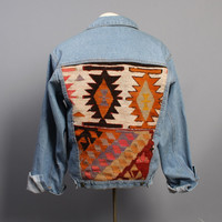 80s KILIM Jean JACKET / Blue Denim & Wool Ethnic Patchwork Coat