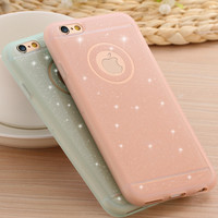 Glitter Powder Soft Silicone TPU Case with Logo Thin Shining Back Cover Protective For iPhone 6 6s 4.7 /plus 5.5