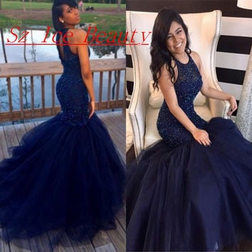 Sexy Royal Blue African Prom Dresses With Puffy Mermaid Skirt Beaded Backless 2016 Long Dress For Graduation Party Gown