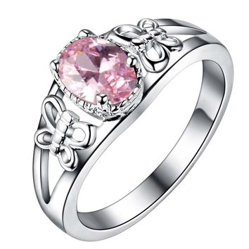 elegant pink zircon Wholesale 925 jewelry silver plated ring ,fashion jewelry Ring for Women, /JXKQIOYU MLCBZJGL
