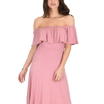 Lyss Loo Wait And See Off The Shoulder Mauve Midi Dress