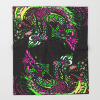Swan Floral Throw Blanket by ES Creative Designs