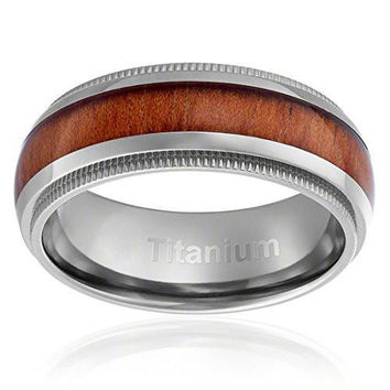 8MM Titanium Ring Wedding Band Wood Inlay Domed Top and Milgrain Edges | FREE ENGRAVING
