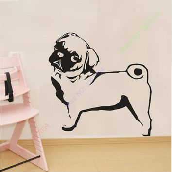 New PUG DOG Wall Sticker Vinyl Wall Stickers Home Decor Furnishing Decorative Animals Mural Car Transfer Large Decal