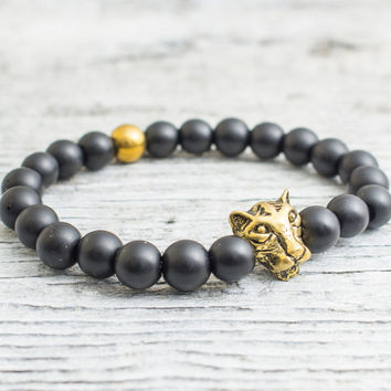 Matte black onyx beaded gold Leopard head stretchy bracelet with a gold plated hematite, yoga bracelet, mens bracelet, womens bracelet