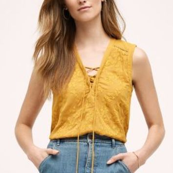Maeve Embroidered Lace-Up Tank