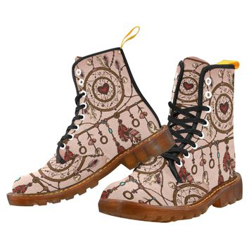 Ethnic Feathers, Dream Catcher Lace Up Martin Boots for Women