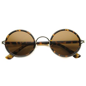 Vintage Dapper Round Ornate Sunglasses 9867