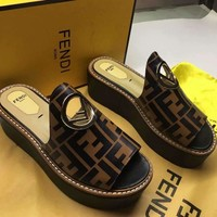 Fendi Women High Slippers Sandals Beach Shoes Outdoor Shoes Size 36-40