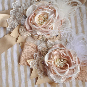 Vanilla Bon Bon SASH -flower girl-wedding bridal- vintage sash- persnickety- shabby chic- dollcake sash - baptism- photo prop