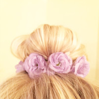 Vintage Floral Inspired Bun Cover for Top Knots Sock Buns and Messy Buns in Lavender Purple Colored Flowers Girly Hipster Mini Crown