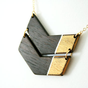 Hand-Painted Wooden Colorblock Chevron Necklace in Gold - MADE TO ORDER