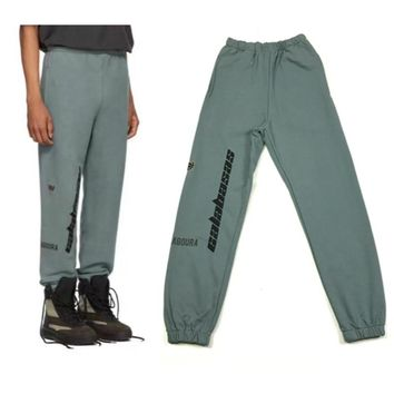 Autumn Calabasas Text Embroidered Sweatpants Kanye West Cotton Terry Track Pants Elasticized waistband and cuffs Black/Blue