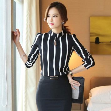 Women Office Shirts Women Korean Style Hollow Out Long Sleeve Striped Chiffon Blusas