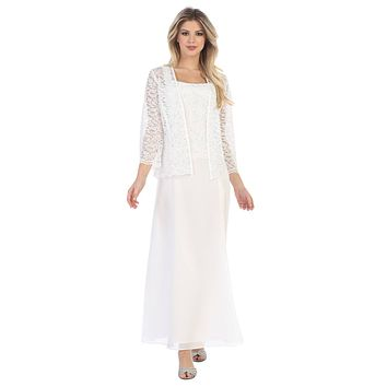 Long Chiffon Off White Mother of Groom Dress Lace Long Sleeve Jacket