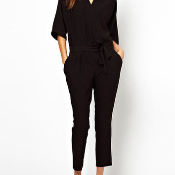 Black V-Neck Waist Tie with Side Pocket Jumpsuit