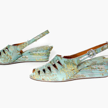 Vintage 40s Aqua Brocade WEDGES / 1940s Aqua Silk Peep Toe Cut-Out Slingbacks 7 1/2