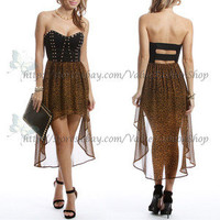 Womens Cut out Back Fish Tail Leopard Rivet Rockabilly High low Club Party Dress
