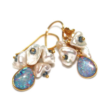 Australian Black Opal Earrings Pearl Cluster Earrings Ombre Saphhire Lightning Ridge Opal Gemstone Jewelry