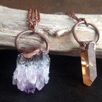 Orange Quartz Crystal from Madagascar - Electroplated Crystal Necklace - Crystal Necklace - Copper Chain - Boho - Hippie Necklace