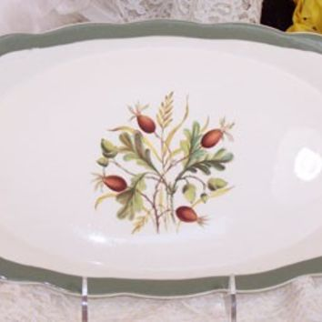 Alfred Meakin, Greenwood Dinnerware Sandwich Platter, Green Autumn Fall, Vintage English Serving Tray, Porcelain Home Decor Housewares C594