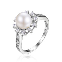 Snowflake 7mm Freshwater Cultured Pearl Halo Enagement Ring 925 Sterling Silver