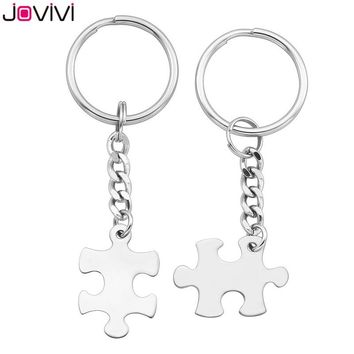 2018 JOVIVI New Style 2pcs Stainless Steel Puzzle Couples Keychain Key Ring Jewelry - Valentines Day Best Friend Gifts