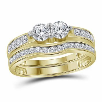14kt Yellow Gold Women's Round Diamond 2-stone Bridal Wedding Engagement Ring Band Set 1.00 Cttw - FREE Shipping (US/CAN)