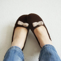 Crocheted brown house shoes, house slippers, women slippers