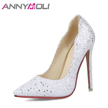 ANNYMOLI Women Pumps Extreme High Heels Glitter Party Shoes Sexy White Bridal Wedding Shoes Spring Stiletto Sliver Size 34-43