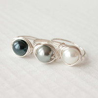 White Black Pearl Ring, Bridesmaid Jewelry, Wire Wrapped