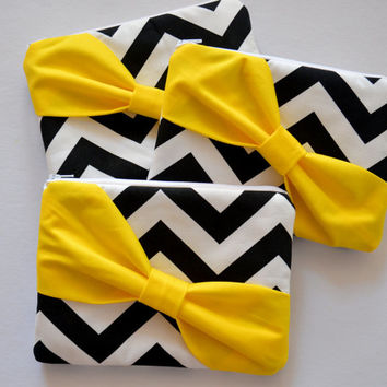 Set of 3 Black & White Chevron w/ Yellow Diagonal Bow Bridesmaid Clutch Bridal Accessories Wedding Gift Bridal Clutch Zippered