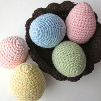 Easter Eggs in Basket Crochet Easter Decoration