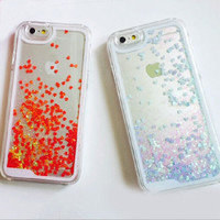 New ! Liquid Glitter Romantic Love Case Colorful Dynamic Transparent Hard Case for iphone 6 4.7''  inch Mobile Phone cases