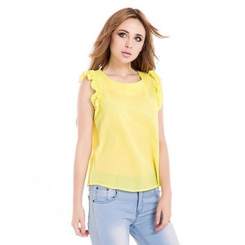 Women's Shirts Sleeveless Lotus Leaf Pullover Lace Bow Chiffon Shirt Tops Summer Spring Blouse White/Yellow/Blue Female