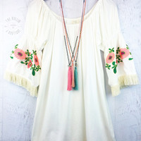 Bell Sleeve Embroidered Day Dress