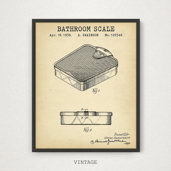 Bathroom Scale Patent Poster Printable, Digital Download Blueprint Art, Bathroom Decor, Bathroom Scale Print, Bathroom Prints, Vintage Decor
