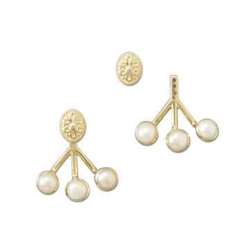 Gold Plated Pearl Ear Jackets