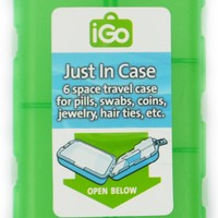 iGo 6 Compartment Travel Case - Great for Pills, Swabs. Coins, Jewelry, Etc. - Available in Assorted Colors