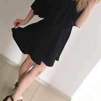 Black Ruffle Backless Off Shoulder Homecoming Party Little Mini Dress