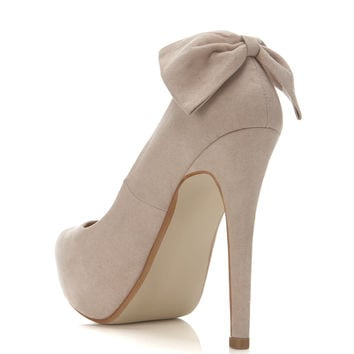 Sindy Nude Bow Back Court - Heels  - Shoes