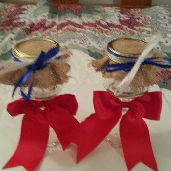 Burlap red blue & white wedding candle jar / center piece set. Any color to match your wedding