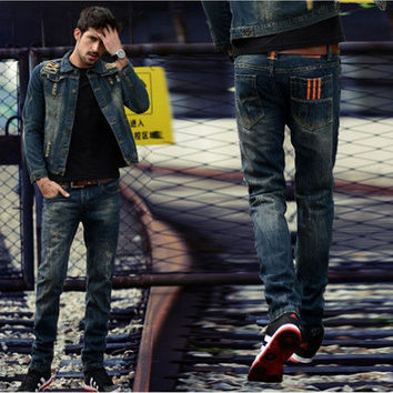 Men Pants Summer Denim Korean Slim Jeans [6528465475]