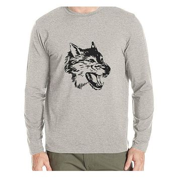 Man t shirt New spring Autumn Long Sleeve T-shirt Men's t shirt fashion Animal wolf head trend