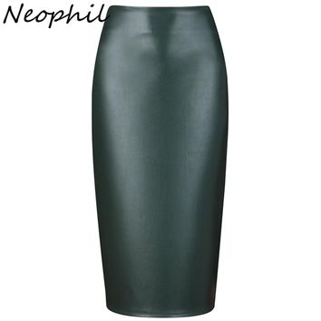Neophil Ladies Sexy Shining Faux Leather Midi Pencil Skirts High Waist Summer Elastic Bodycon Sexy Office Short Saias S0308